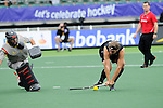 The Hague, Netherlands, June 15: During the shoot-out during the field hockey placement match (Men - Place 7th/8th) between Spain and the Black Sticks of New Zealand on June 15, 2014 during the World Cup 2014 at Kyocera Stadium in The Hague, Netherlands. Final score after full time 1-1 (0-1). The Black Sticks of New Zealand win the shoot-out 1-4.  (Photo by Dirk Markgraf / www.265-images.com) *** Local caption ***