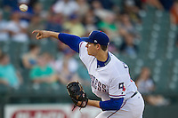 Round Rock Express pitcher Jerad Eickhoff (56) delivers a pitch to the plate during the Pacific Coast League baseball game against the Oklahoma City Dodgers on June 9, 2015 at the Dell Diamond in Round Rock, Texas. The Dodgers defeated the Express 6-3. (Andrew Woolley/Four Seam Images)