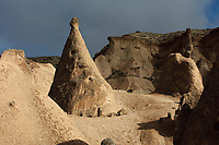 Fairy chimney in Devrent Valley, known as Imagination Valley, near Goreme in Nevsehir province, Cappadocia, Central Anatolia, Turkey. The rock formations here were made by erosion of the volcanic tuff created by ash from volcanic eruptions millions of years ago, and many resemble figures or animals, such as camels, snakes, seals and dolphins. This area forms part of the Goreme National Park and the Rock Sites of Cappadocia UNESCO World Heritage Site. Picture by Manuel Cohen