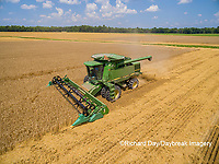 63801-11609 Combine harvesting wheat-aerial Marion Co.  IL