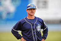 Asheville Tourists manager Joe Mikulik #20 during a game against the Rome Braves at McCormick Field on August 18, 2011 in Asheville, North Carolina. Rome won the game 12-11.   (Tony Farlow/Four Seam Images)