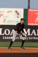 Rayder Ascanio (7) of the Bakersfield Blaze in the field during a game against the Lancaster JetHawks at The Hanger on August 5, 2015 in Lancaster, California. Bakersfield defeated Lancaster, 12-5. (Larry Goren/Four Seam Images)