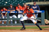 Nate Eikhoff (32) of the Virginia Cavaliers lays down a bunt against the Duke Blue Devils in Game Seven of the 2017 ACC Baseball Championship at Louisville Slugger Field on May 25, 2017 in Louisville, Kentucky. The Blue Devils defeated the Cavaliers 4-3. (Brian Westerholt/Four Seam Images)