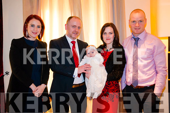 Ramona Kelleher Christening Wednesday 27th in Brooklane Hotel. <br /> Grace and Kenneth Kelleher, James Healy (Godfather) and Karena Goulding (Godmother)