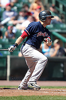 Pawtucket Red Sox first baseman Lars Anderson during a game vs. the Rochester Red Wings at Frontier Field in Rochester, New York;  August 29, 2010.   Rochester defeated Pawtucket 6-3.  Photo By Mike Janes/Four Seam Images