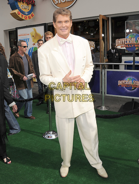 "DAVID HASSELHOFF .at The Universal Pictures' World Premiere of ""HOP"" held at Universal City Walk in Universal City, California, USA, March 27th 2011..full length white suit tuxedo bow tie cream tux shoes                                                      .CAP/RKE/DVS.©DVS/RockinExposures/Capital Pictures."