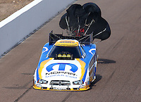 Feb 23, 2014; Chandler, AZ, USA; NHRA funny car driver Matt Hagan during the Carquest Auto Parts Nationals at Wild Horse Motorsports Park. Mandatory Credit: Mark J. Rebilas-USA TODAY Sports