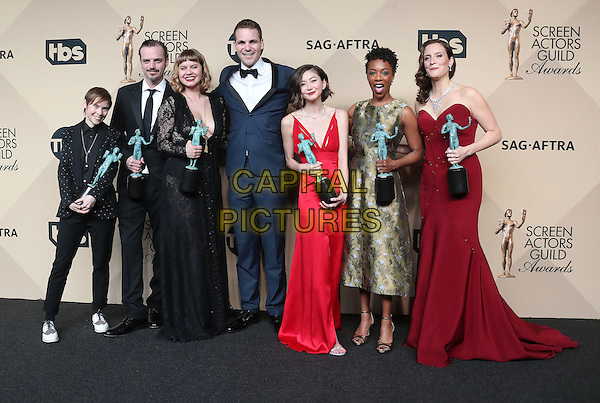 29 January 2017 - Los Angeles, California - Abigail Savage, James McMenamin, Emily Althaus, Alan Aisenberg, Kimiko Glenn, Samira Wiley, and Julie Lake, co-recipients of the Outstanding Performance by an Ensemble in a Comedy Series award for 'Orange Is the New Black,'. 23rd Annual Screen Actors Guild Awards held at The Shrine Expo Hall. <br /> CAP/ADM/FS<br /> &copy;FS/ADM/Capital Pictures