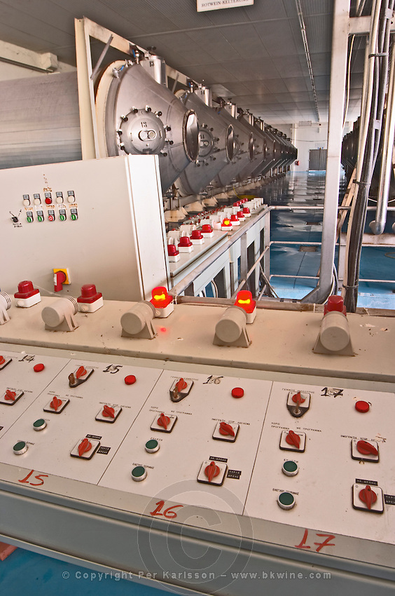 Roto-fermenters. Control panel. Tsantali Vineyards & Winery, Halkidiki, Macedonia, Greece.