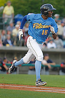 Myrtle Beach Pelicans outfielder Trey Martin (15) at bat during a game against the Salem Red Sox at Ticketreturn.com Field at Pelicans Ballpark on May 5, 2015 in Myrtle Beach, South Carolina.  Myrtle Beach defeated Winston-Salem  6-0. (Robert Gurganus/Four Seam Images)