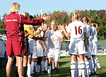 Florida State's Sarah Wagenfuhr (5) is introduced before the game on Wednesday, November 2nd, 2005 at SAS Stadium in Cary, North Carolina. The Florida State University Seminoles defeated the Clemson University Tigers 4-0 during their Atlantic Coast Conference Tournament Quarterfinal game.
