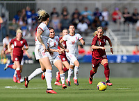 FRISCO, TX - MARCH 11: Jordan Nobbs #10 of England races for a loose ball during a game between England and Spain at Toyota Stadium on March 11, 2020 in Frisco, Texas.