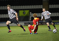 Jack Bruce (3) wins the tackle with Graeme McGregor in the St Mirren v Dunfermline Athletic Clydesdale Bank Scottish Premier League U20 match played at St Mirren Park, Paisley on 2.10.12.