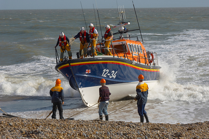 RNLI lifeboat being landed at Aldeburgh, East Anglia. Royal National Lifeboat