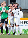 Dumbarton's Scott Agnew is congratulated after he scores their second goal from the spot.