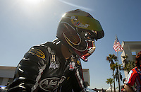 Mar. 12, 2011; Gainesville, FL, USA; NHRA pro stock motorcycle driver Matt Smith during qualifying for the Gatornationals at Gainesville Raceway. Mandatory Credit: Mark J. Rebilas-.