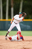 GCL Pirates second baseman Andrew Walker (62) waits for a throw as Jhailyn Ortiz (13) steals during a game against the GCL Phillies on August 6, 2016 at Pirate City in Bradenton, Florida.  GCL Phillies defeated the GCL Pirates 4-1.  (Mike Janes/Four Seam Images)