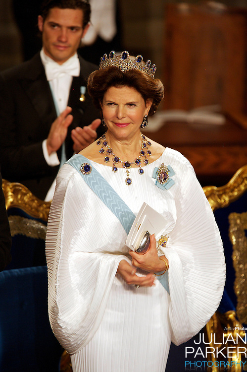 The Swedish Royal Family attend The Nobel Prize Award Ceremony at Stockholm Concert Hall, in Sweden..Queen Silvia of Sweden attends.