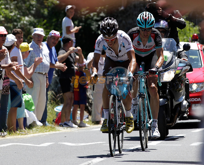 Blel Kadri (FRA) AG2R La Mondiale leads Jens Voigt (GER) Radioshack Leopard Trek up the Category 2 climb of Col de la Croix de Mounis during Stage 7 of the 100th Edition of the Tour de France 2013 from Montpellier to Albi. 5th July 2013.<br /> (Photo: Eoin Clarke/ www.newsfile.ie)