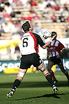 Kristian Ormsby claims a kick during the Ranfurly Shield challenge against Canterbury at Jade Stadium on the 10th of September 2006. Canterbury won 32 - 16.