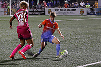Rochester, NY - Saturday Aug. 27, 2016: Lianne Sanderson, Rebecca Moros during a regular season National Women's Soccer League (NWSL) match between the Western New York Flash and the Houston Dash at Rochester Rhinos Stadium.