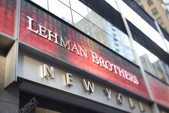 Outside Lehman Brothers world headquarters on the day the company filed Chapter 11 for backruptcy protection. Times Square, New York City, New York, USA, September 15, 2008