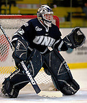 6 January 2007: University of New Hampshire goaltender Kevin Regan (32) from South Boston, MA, warms up prior to a game against the University of Vermont Catamounts at Gutterson Fieldhouse in Burlington, Vermont. The UNH Wildcats defeated Vermont 2-1 to sweep the two-game series in front of a record setting 49th consecutive sellout at the Gut...Mandatory Photo Credit: Ed Wolfstein Photo.<br />
