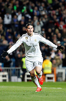 James of Real Madrid scores during La Liga match between Real Madrid and Sevilla at Santiago Bernabeu Stadium in Madrid, Spain. February 04, 2015. (ALTERPHOTOS/Caro Marin) /NORTEphoto.com