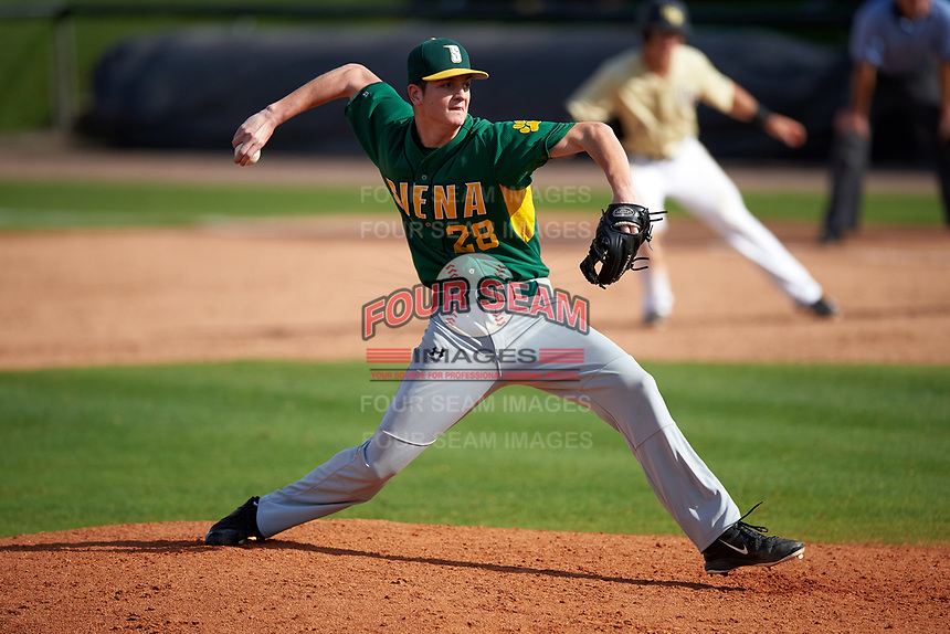 Siena Saints relief pitcher Zack Durant (28) delivers a pitch during a game against the UCF Knights on February 21, 2016 at Jay Bergman Field in Orlando, Florida.  UCF defeated Siena 11-2.  (Mike Janes/Four Seam Images)