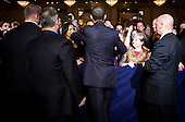 United States President Barack Obama is surrounded by Secret Service Agents as he shakes hands after speaking at a Democratic National Committee (DNC) fundraiser in Washington, DC, on Monday, May 16, 2011.  .Credit: Joshua Roberts / Pool via CNP