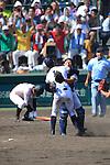 (2L-R) Kona Takahashi, Shunki Ogawa (Maebashi Ikuei),<br /> AUGUST 22, 2013 - Baseball :<br /> Pitcher Kona Takahashi and catcher Shunki Ogawa of Maebashi Ikuei celebrate their victory as Reito Nasu (L) of Nobeoka Gakuen looks dejected at the end of the 95th National High School Baseball Championship Tournament final game between Maebashi Ikuei 4-3 Nobeoka Gakuen at Koshien Stadium in Hyogo, Japan. (Photo by Toshihiro Kitagawa/AFLO)