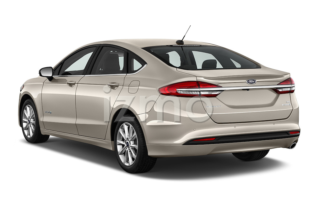 Car pictures of rear three quarter view of 2017 Ford Fusion-Hybrid Hybrid-SE 4 Door Sedan Angular Rear