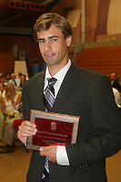 "STANFORD, CA - June 12:  Sandy Hohener accepts his Block ""S"" Outstanding Male Senior award for the highest GPA during the 2008 Athletic Board Award Luncheon at the Ford Center in Stanford, California."