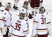 Ian Milosz (BC - 29), Ryan Edquist (BC - 35), JD Dudek (BC - 15), Joe Woll (BC - 31) - The Boston College Eagles defeated the visiting Colorado College Tigers 4-1 on Friday, October 21, 2016, at Kelley Rink in Conte Forum in Chestnut Hill, Massachusetts.The Boston College Eagles defeated the visiting Colorado College Tiger 4-1 on Friday, October 21, 2016, at Kelley Rink in Conte Forum in Chestnut Hill, Massachusett.