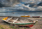 Colorful wooden boats, Chile, South America
