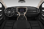 Stock photo of straight dashboard view of a 2019 Ram 1500 Crew Cab Laramie Short Box 4x2 4 Door Pick Up