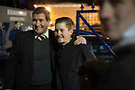 Southend United 1 Burton Albion 1, 22/02/2016. Roots Hall, League One. Visiting manager Nigel Clough posing for a photograph with a supporter outside Roots Hall stadium, before Southend United took on Burton Albion in a League 1 fixture. Founded in 1906, Southend United moved into their current ground in 1955, the construction of which was funded by the club's supporters. Southend won this match by 3-1, watched by a crowd of 6503. Photo by Colin McPherson.
