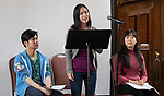 """Carolyn Hu-Bradbury, a student in The Theatre School, performs """"Asian Voices"""" during the second annual Grace Lee Boggs Heritage Breakfast hosted by the Office of Institutional Diversity and Equity, Thursday, May 9, 2019, in Cortelyou Commons. (DePaul University/Jeff Carrion)"""