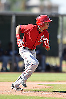 Los Angeles Angels of Anaheim shortstop Franklin Torres (3) during an Instructional League game against the Milwaukee Brewers on October 9, 2014 at Tempe Diablo Stadium Complex in Tempe, Arizona.  (Mike Janes/Four Seam Images)