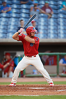 Clearwater Threshers first baseman Austin Listi (34) at bat during a game against the Jupiter Hammerheads on April 9, 2018 at Spectrum Field in Clearwater, Florida.  Jupiter defeated Clearwater 9-4.  (Mike Janes/Four Seam Images)