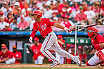 24 February 2019: Washington Nationals infielder Adrian Sanchez at bat during a Spring Training game against the St. Louis Cardinals at Roger Dean Stadium in Jupiter, Florida. The Nationals defeated the Cardinals 12-2 in Grapefruit League play. Mandatory Credit: Ed Wolfstein Photo *** RAW (NEF) Image File Available ***