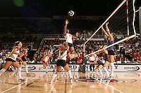 17 Sep 2005: Katie Goldhahn and Foluke Akinradewo during Stanford's 3-0 win over UCSB at Maples Pavilion in Stanford, CA.