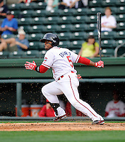 Outfielder Aneury Tavarez (5) of the Greenville Drive in a game against the Charleston RiverDogs on Saturday, April 6, 2013, at Fluor Field at the West End in Greenville, South Carolina. Charleston won Game 1 of a doubleheader, 6-2. (Tom Priddy/Four Seam Images)