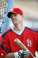 Scott Rolen of the St. Louis Cardinals during batting practice before a game from the 2007 season at Dodger Stadium in Los Angeles, California. (Larry Goren/Four Seam Images)