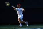 WINSTON SALEM, NC - MAY 22: Kyle Seelig of the Ohio State Buckeyes hits a forehand against the Wake Forest Demon Deacons during the Division I Men's Tennis Championship held at the Wake Forest Tennis Center on the Wake Forest University campus on May 22, 2018 in Winston Salem, North Carolina. Wake Forest defeated Ohio State 4-2 for the national title. (Photo by Jamie Schwaberow/NCAA Photos via Getty Images)