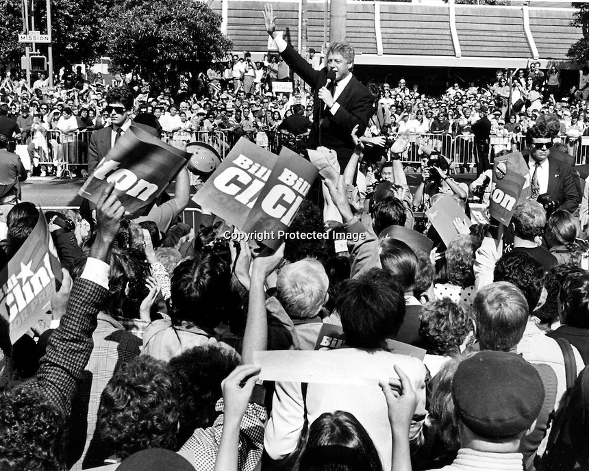 United States President Bill Clinton campaigning in San Francisco, California in 1992. (photo by Ron Riesterer)
