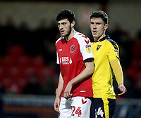 Fleetwood Town's Ashley Nadesan (left) and Oxford United's Josh Ruffels<br /> <br /> Photographer Rich Linley/CameraSport<br /> <br /> The EFL Sky Bet League One - Fleetwood Town v Oxford United - Saturday 12th January 2019 - Highbury Stadium - Fleetwood<br /> <br /> World Copyright &copy; 2019 CameraSport. All rights reserved. 43 Linden Ave. Countesthorpe. Leicester. England. LE8 5PG - Tel: +44 (0) 116 277 4147 - admin@camerasport.com - www.camerasport.com