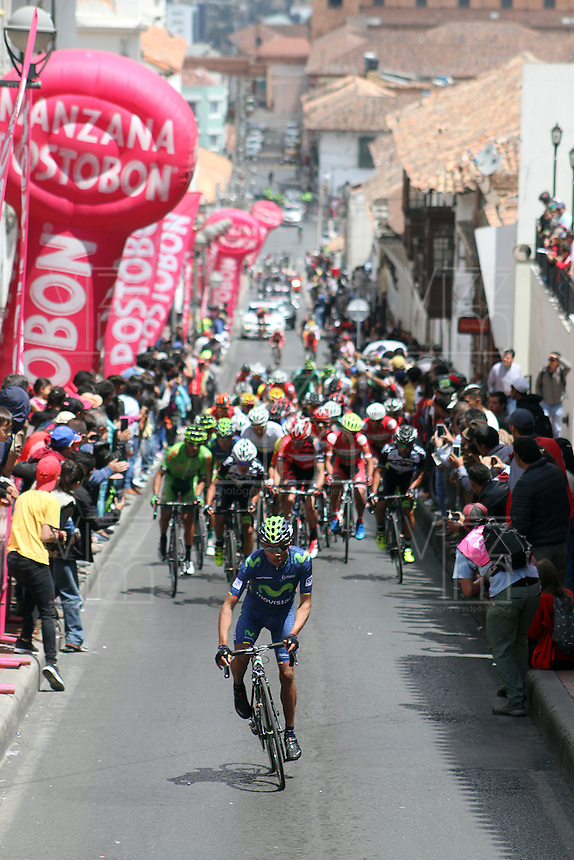 TUNJA - COLOMBIA- 20 - 02 - 2016: Ciclistas, durante la prueba ruta sub-23 varones entre las ciudades de Paipa y Tunja en una distancia 115,6 km kilometros de Los Campeonato Nacionales de Ciclismo, que se realizan en Boyaca. / Cyclists, during the route test U-23 men between the towns of Paipa and Tunja at a distance of 115,6 km of the National Cycling Championships performed in Boyaca. / Photo: VizzorImage / Cesar Melgarejo / Cont.