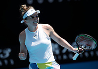 27th January 2020; Melbourne Park, Melbourne, Victoria, Australia; Australian Open Tennis, Day 8; Simona Halep of Romania celebrates a point during her match against Elise Mertens of Belgium