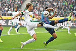 04.11.2018, Borussia Park , Moenchengladbach, GER, 1. FBL,  Borussia Moenchengladbach vs. Fortuna Duesseldorf,<br />  <br /> DFL regulations prohibit any use of photographs as image sequences and/or quasi-video<br /> <br /> im Bild / picture shows: <br /> Michael Lang (Gladbach #3), Alfredo Morales (Fortuna Duesseldorf #6),   <br /> <br /> Foto &copy; nordphoto / Meuter